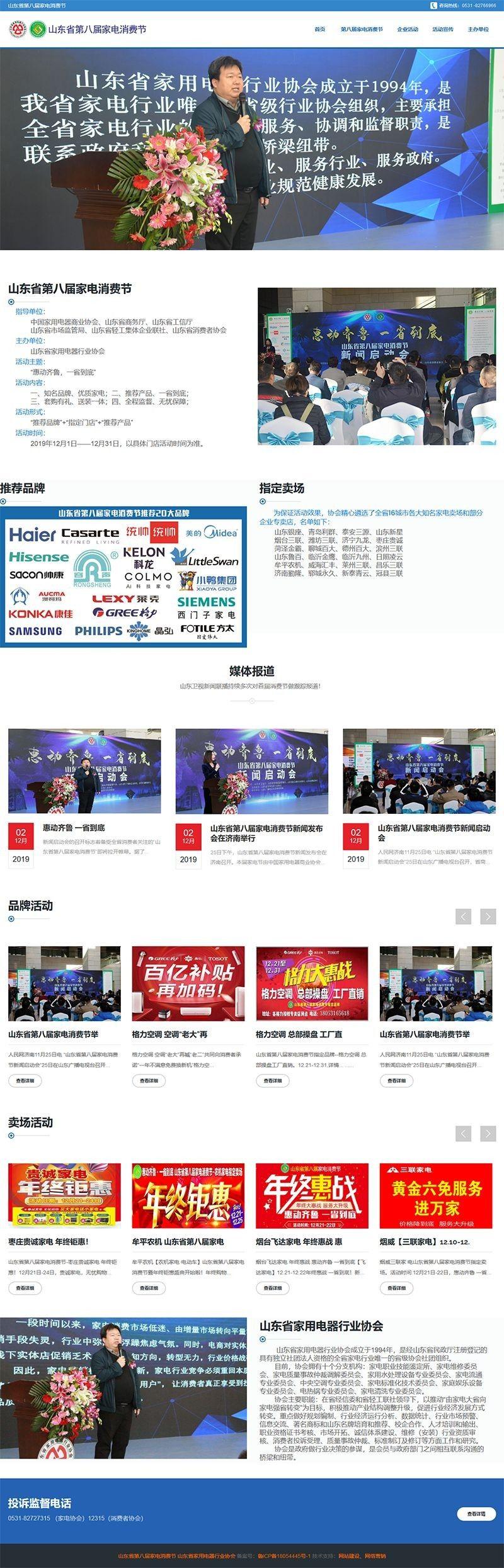 山东省第八届家电消费节,济南网站建设